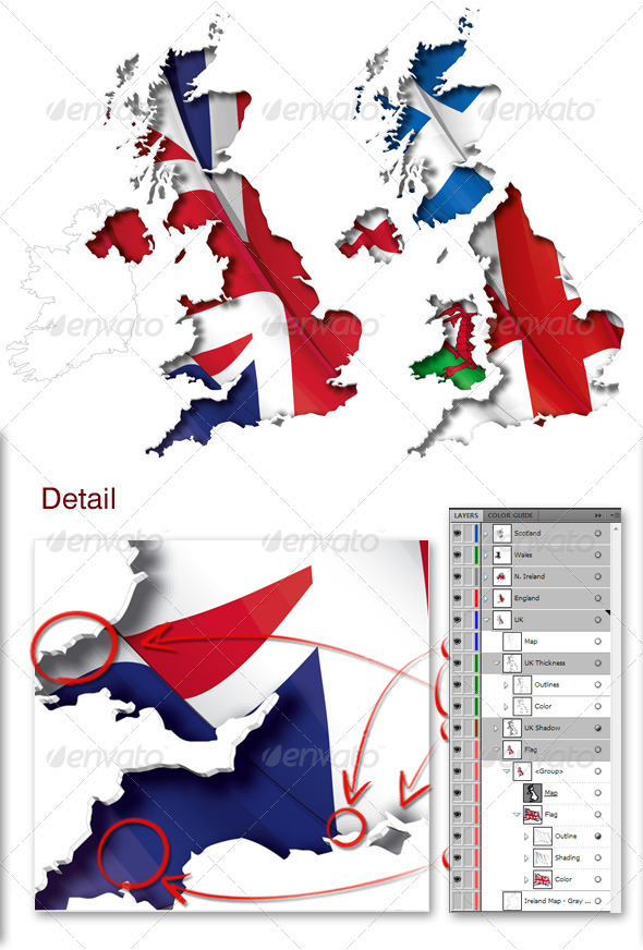 UK Flag-Map Inner Shadow - Travel Conceptual
