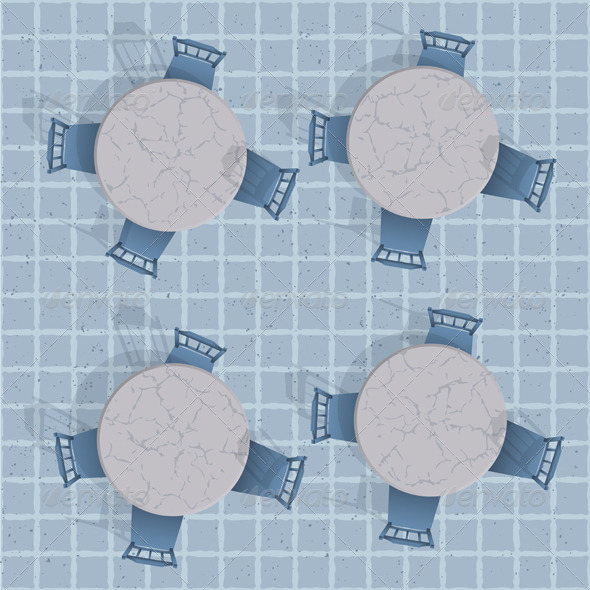 Overhead View Of A Cafe Table With Chairs - Backgrounds Business