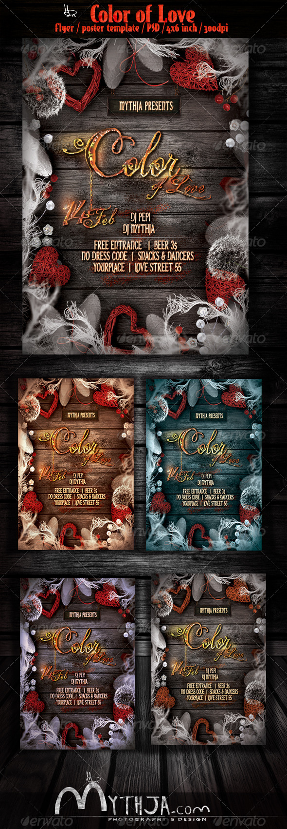 Color of Love - Valentines flyer/poster template - Clubs & Parties Events