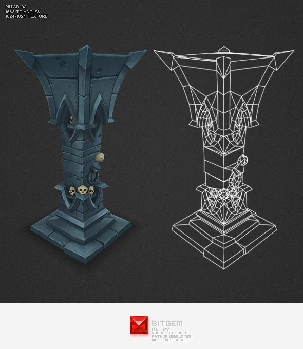 Low Poly Dungeon Pillar 02 - 3DOcean Item for Sale