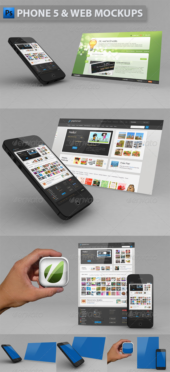 Phone 5 & Website Mockup - Multiple Displays