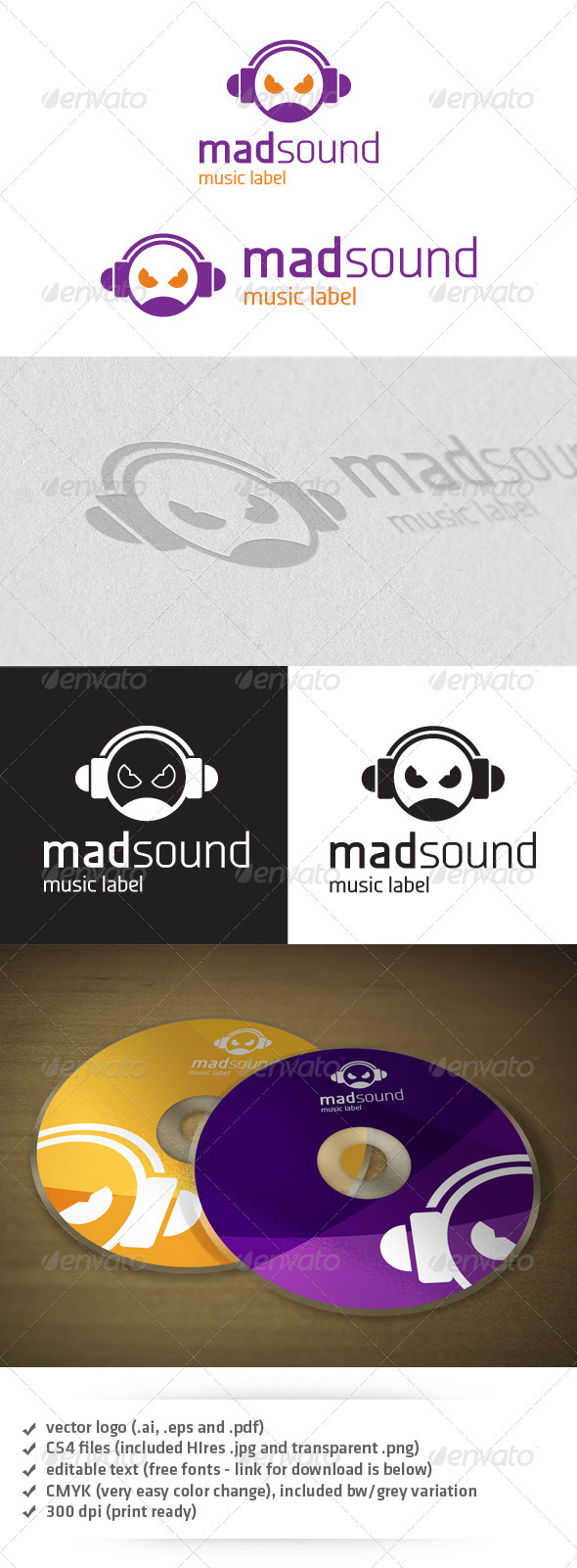 Mad Sound Logo - Humans Logo Templates
