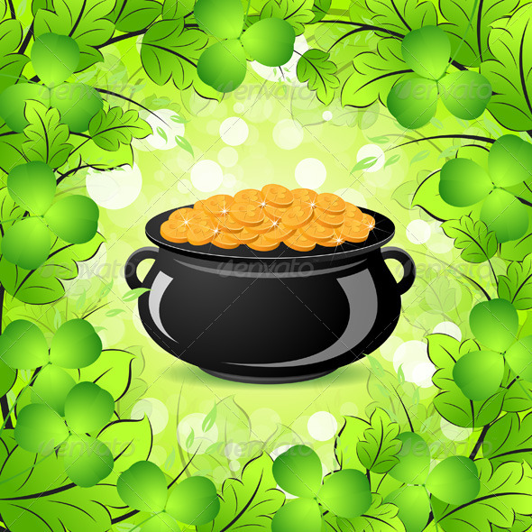 St Patricks Day Cauldron With Gold Coins