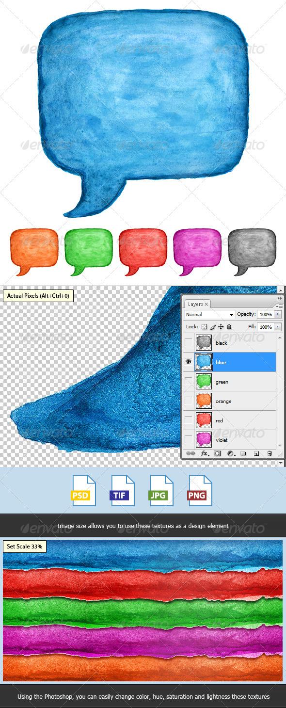 6 Speech Bubble Watercolor Square Shape - Decorative Symbols Decorative