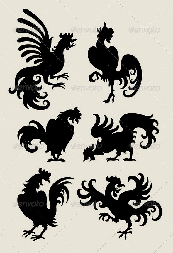 Rooster Silhouette Symbols - Animals Characters