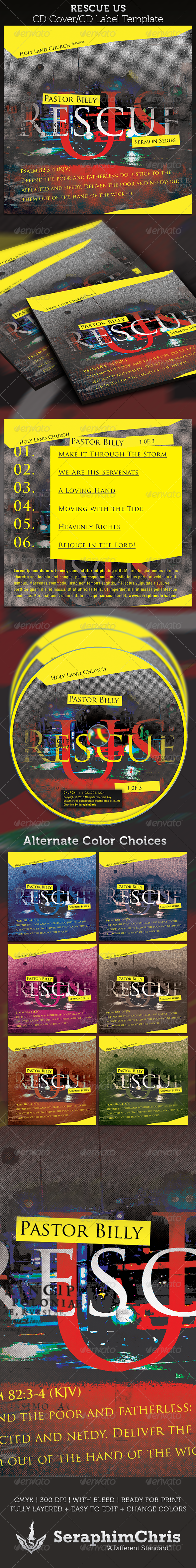 Rescue US CD Cover Artwork Template - CD & DVD Artwork Print Templates