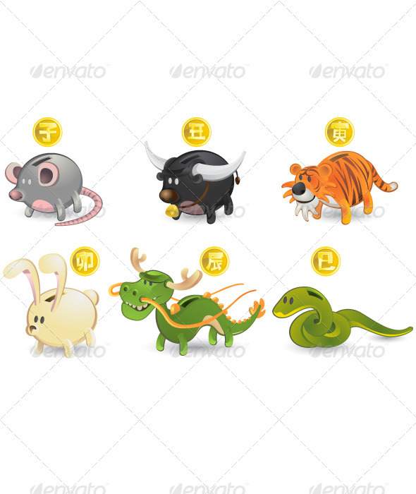 Chinese Zodiac Rat Ox Tiger Rabbit Dragon Snake - Animals Characters