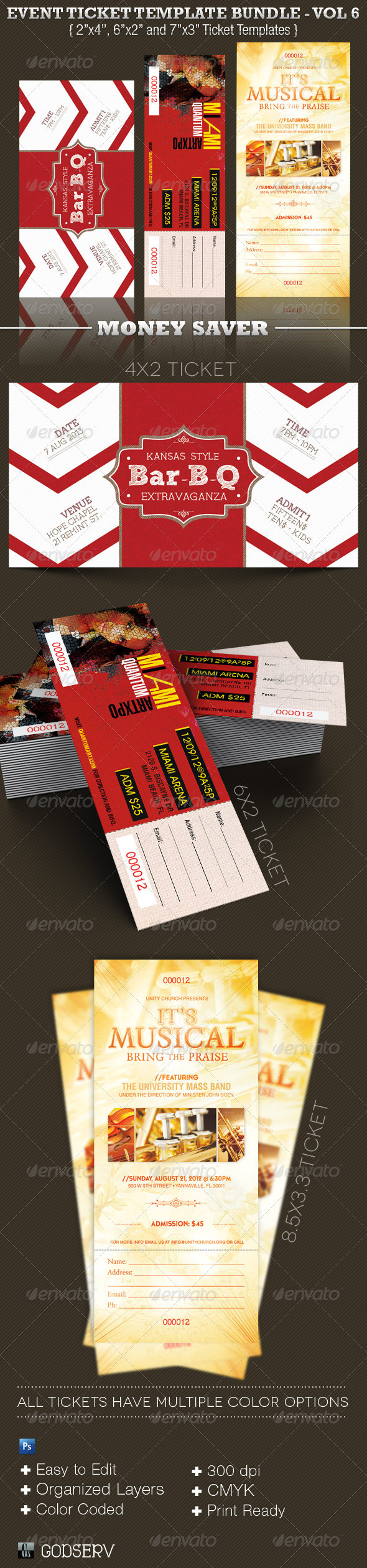 Event Ticket Template Bundle Volume 7 - Miscellaneous Print Templates