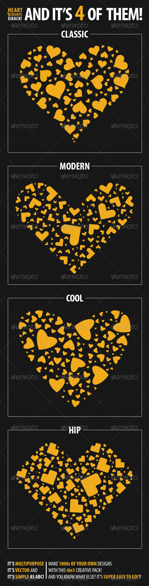 Heart of Hearts 4 in 1 - Vectors