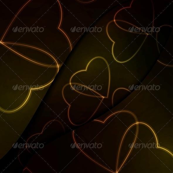 Neon Hearts, Futuristic Illustration. - Valentines Seasons/Holidays