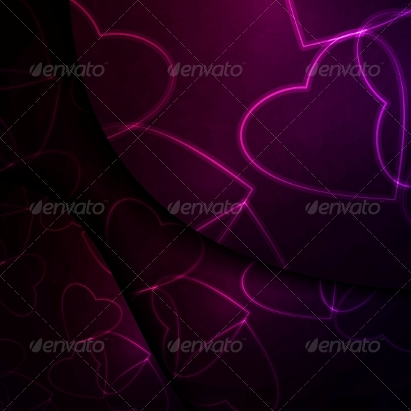 Neon Hearts, Futuristic Illustration. - Valentines Seasons/Holidays