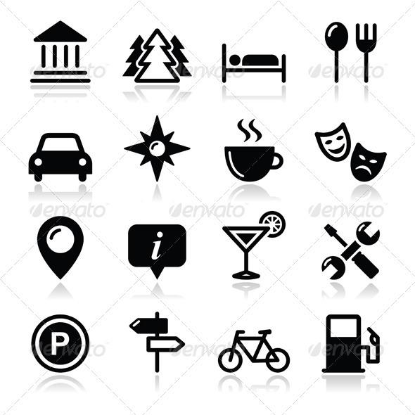 Travel Tourism Icons Set - Vector - Travel Conceptual