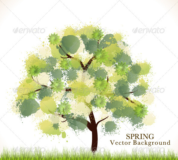 Spring Abstract Vector Background - Landscapes Nature