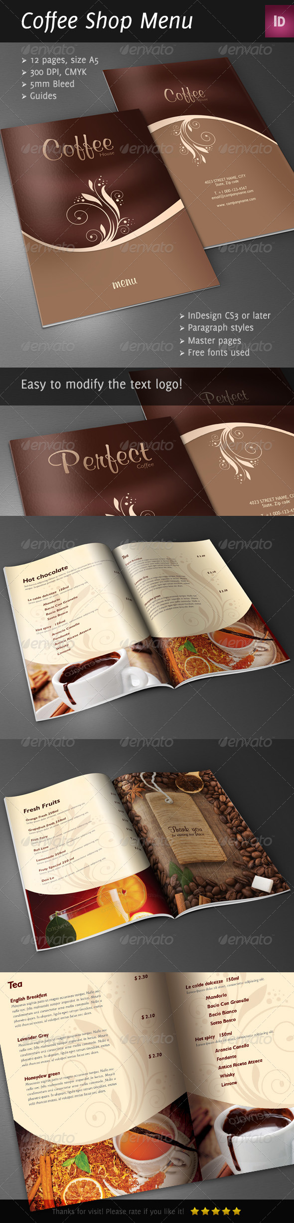 Coffee Shop/Restaurant Menu Brochure - Brochures Print Templates