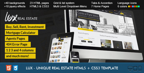 Lux – Huge and Unique Real Estate HTML
