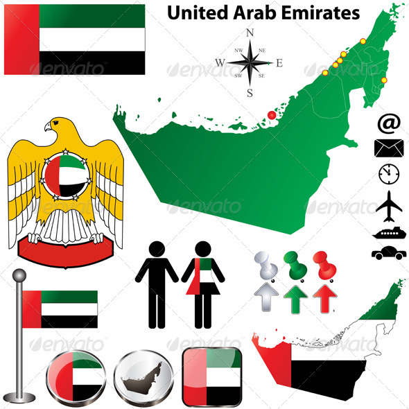 United Arab Emirates map - Travel Conceptual
