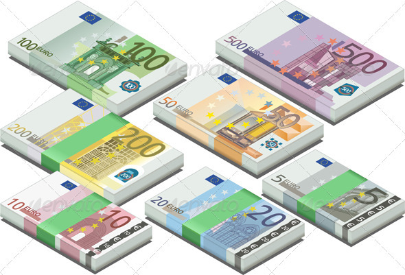 Isometric Full Set of Euro Banknotes - Objects Vectors