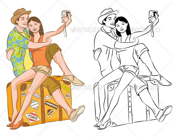 Tourist Couple Taking Their Self Portrait Vector - People Characters