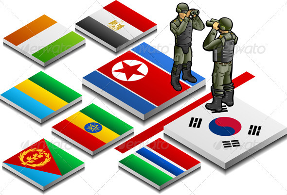 Isometric Border with Military Observer - Conceptual Vectors