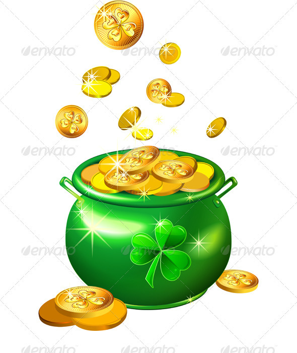 Vector St Patricks Day Green Pot With Gold Coins