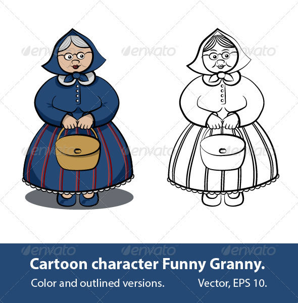 Cartoon Character - Funny Granny - People Characters