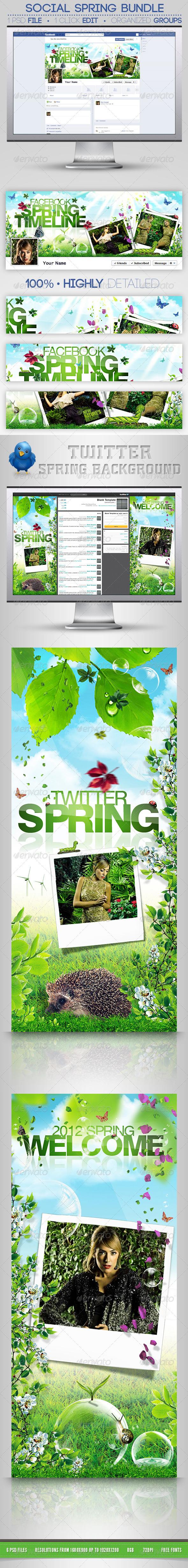 Social Spring Bundle FB Timeline & Twitter BG - Social Media Web Elements