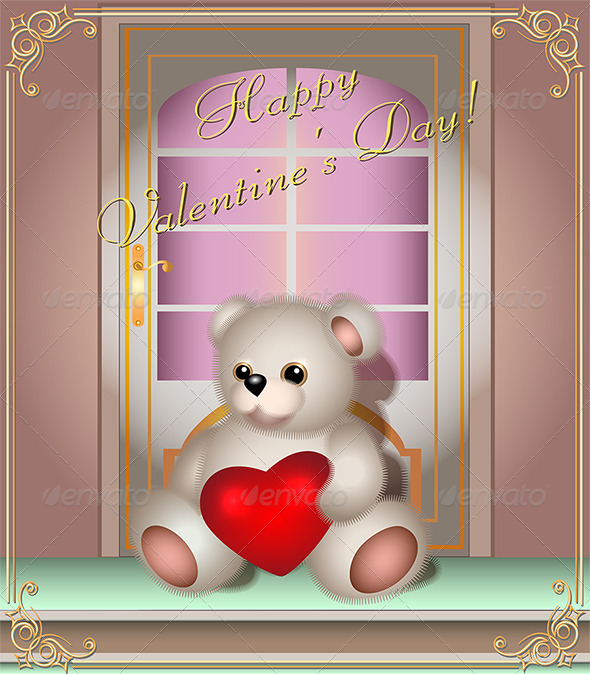 Greeting card with Teddy bear and Door - Valentines Seasons/Holidays