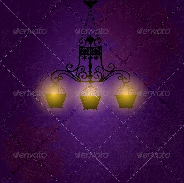 Vintage background with chandelier vector illustra - Decorative Symbols Decorative
