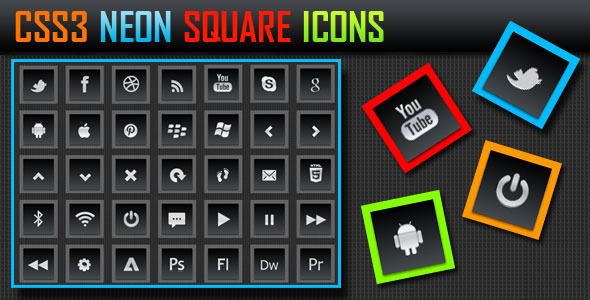 CSS3 Neon Square Icons - CodeCanyon Item for Sale