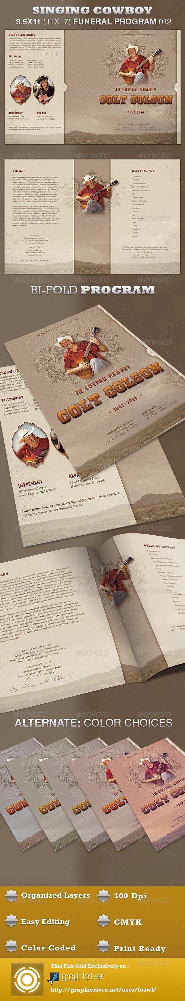 Singing Cowboy Funeral Program Template 012 - Informational Brochures