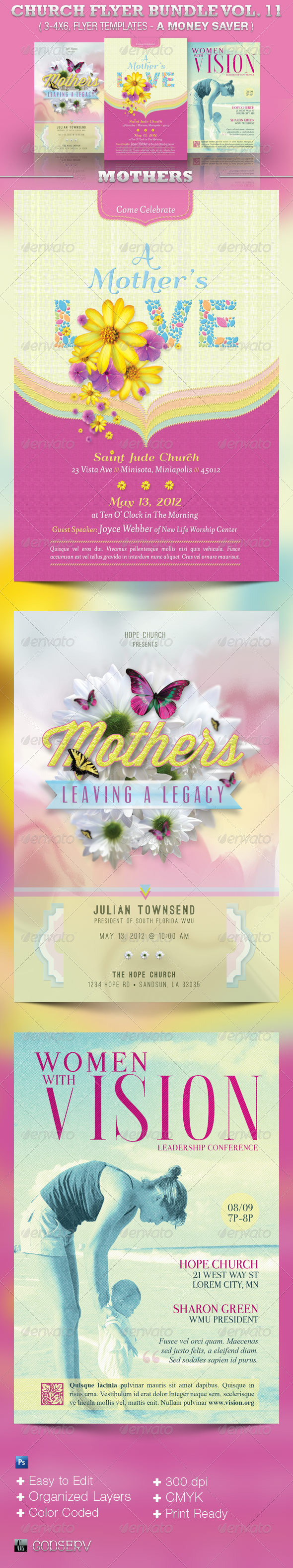 Mothers Church Flyer Template Bundle Vol 11 - Church Flyers