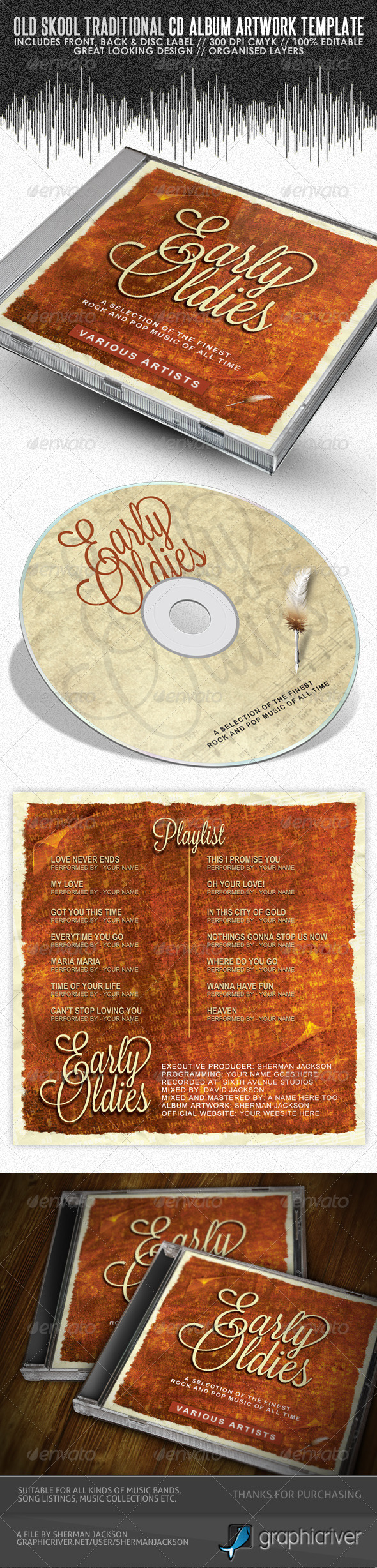Old Skool Traditional CD Cover Artwork Template - CD & DVD Artwork Print Templates