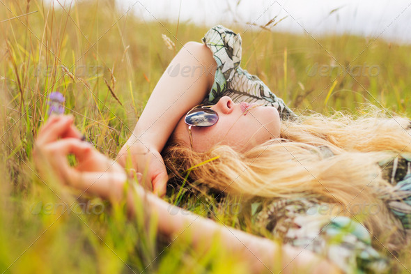 Beautiful Young Woman Enjoying Day Outside - Stock Photo - Images