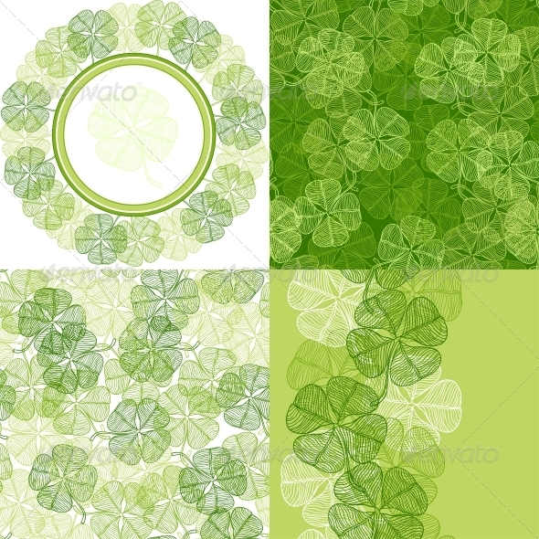 Patterns and backgrounds with clover leaves. - Backgrounds Decorative