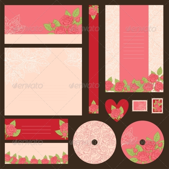 Set of wedding invitations. - Valentines Seasons/Holidays
