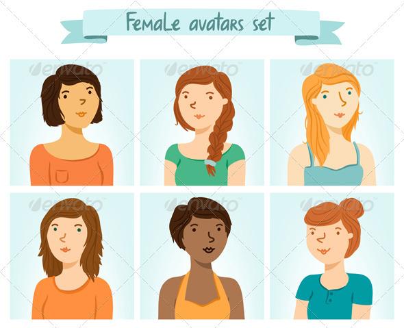 Female Avatars Set - People Characters