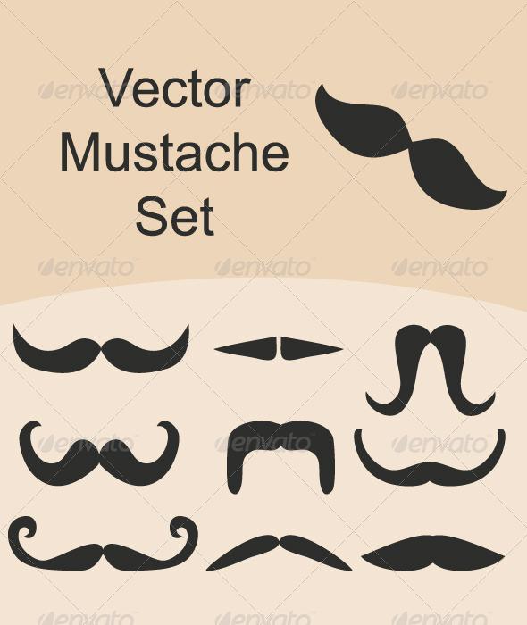 Mustache Vector Set - Decorative Symbols Decorative
