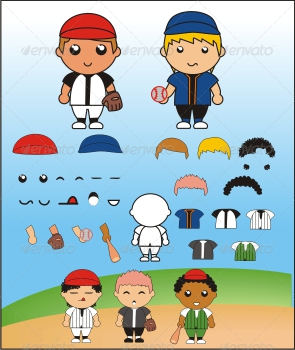 Funny Simple Baseball Player - People Characters