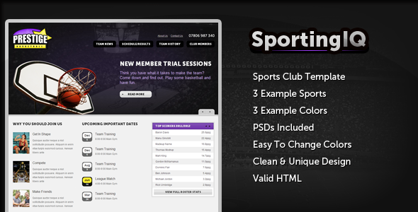 Sporting IQ – HTML Sports Template
