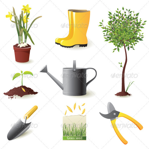 Gardening Icons - Objects Vectors