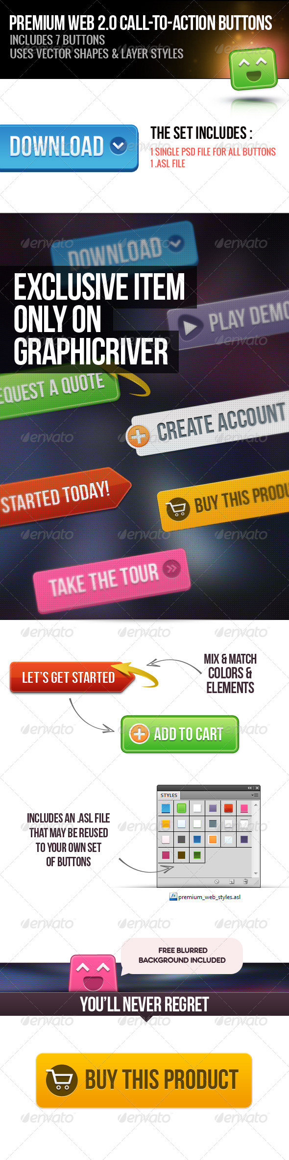 Premium Web 2.0 Call to Action Buttons - Buttons Web Elements