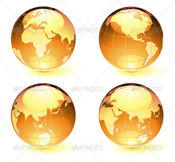 Glossy Earth Map Globes - Conceptual Vectors