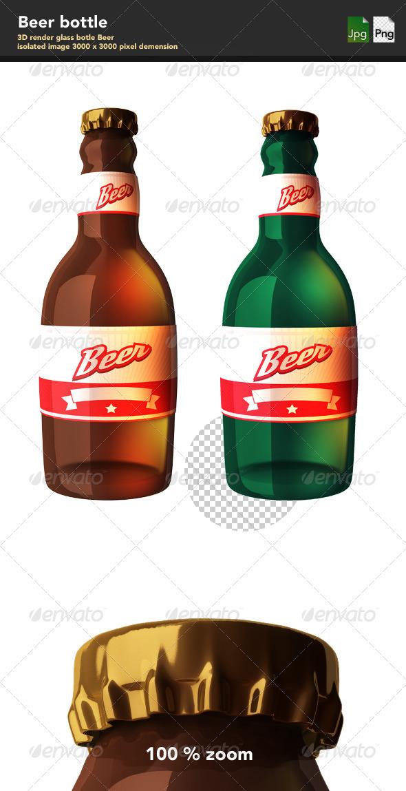 Glass Bottle of Beer - Objects 3D Renders