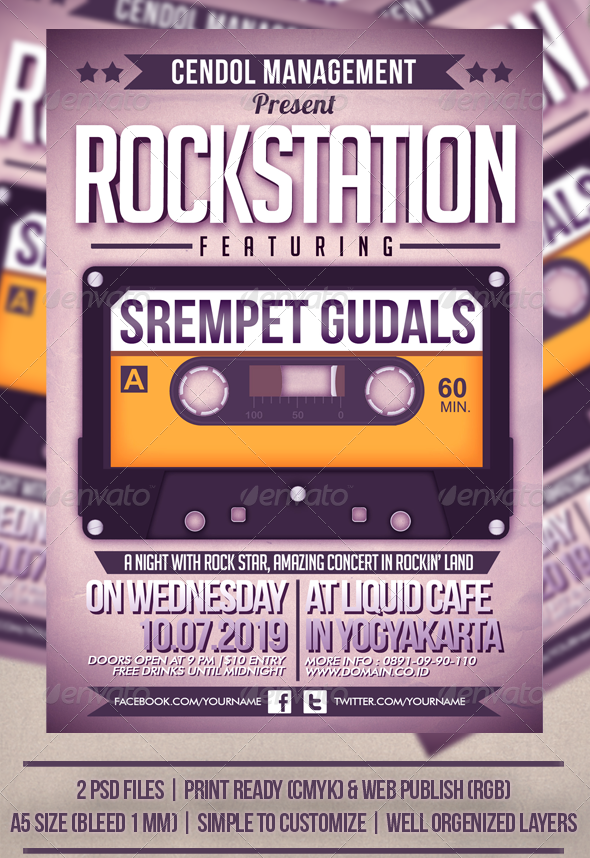 Rock Station Music Flyer Template - Concerts Events