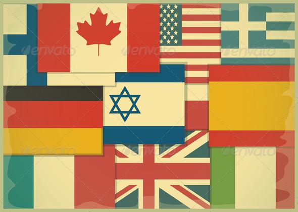 Flag Retro Background - Backgrounds Decorative