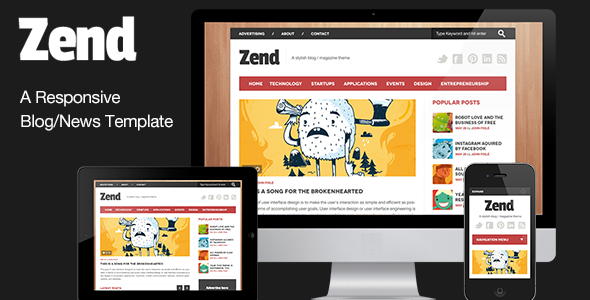 Zend - Responsive Blog/Magazine HTML template - Entertainment Site Templates