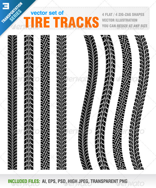 Tire Tracks - Decorative Vectors
