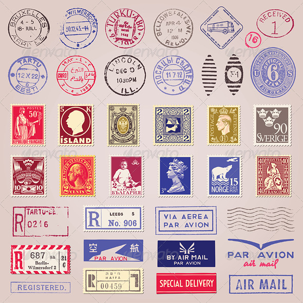 Vector Vintage Postage Stamps, Marks, Stickers - Decorative Symbols Decorative