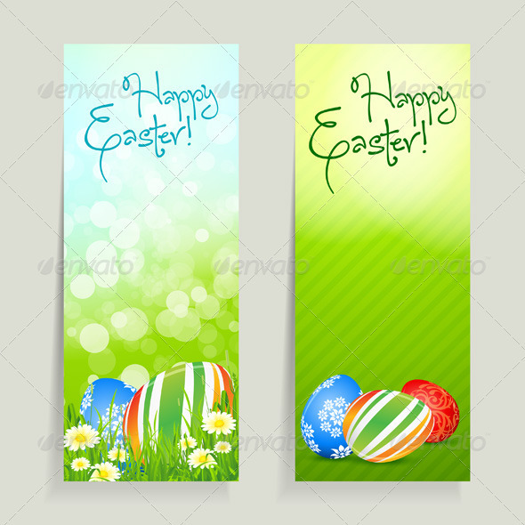 Set of Easter Cards with Eggs - Seasons/Holidays Conceptual