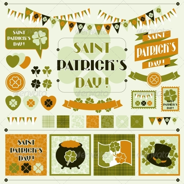 Collection design elements of Saint Patrick's Day. - Decorative Symbols Decorative